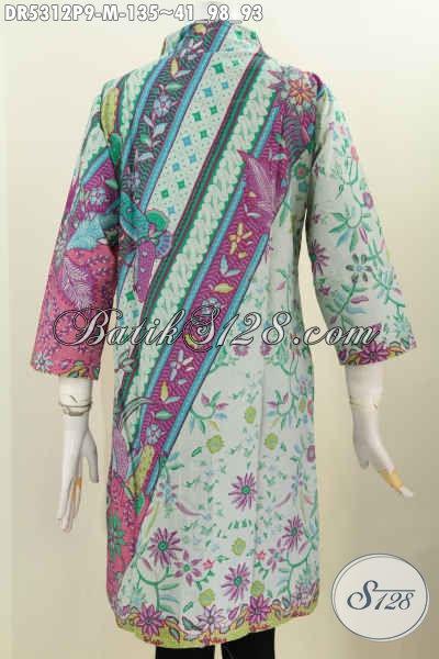 Baju Batik Wanita Muda Dengan Kwalitas Bahan Halus Dan Motif Trendy, Busana Batik Istimewa Prosers Printing Hanya 100 Ribuan Hadir Dengan Kombinasi Warna Nan Berkelas [DR5312P-M]