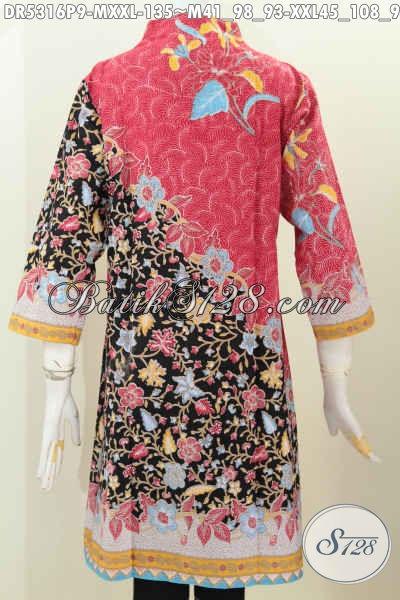Jual Baju Batik Dress Terbaru 2016, Hadir Dengan Model Kerah Langsung Berpadu Kombinasi Warna Trendy Serta Motif Mewah Proses Printing Harga 130 Ribuan [DR5316P-M , XXL]