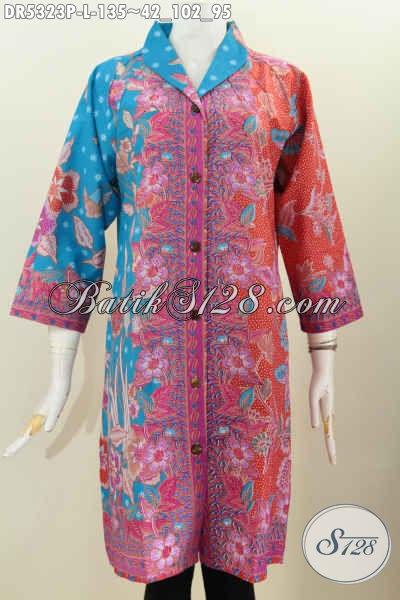 Dress Batik Biru Orange, Pakaian Batik Wanita Model Kerah Langsung Motif Bagus Proses Printing Asli Dari Solo Jawa Tengah, Cocok Untuk Baju Kerja [DR5323P-L]