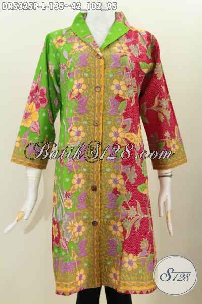 Baju Batik Berbahan Halus Dan Adem Dengan Kombinasi Warna Mewah Model Kerah Langsung, Dress Batik Solo Untuk Kerja Bisa Buat Kondangan Juga Istimewa [DR5325P-L]