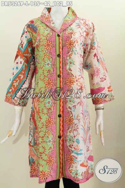 Dress Batik Wanita Terkini, Pakaian Batik Cewek Desain Kekinian, Baju Batik Kerah Langsung Motif Mewah Proses Printing Hanya 135K [DR5326P-L]