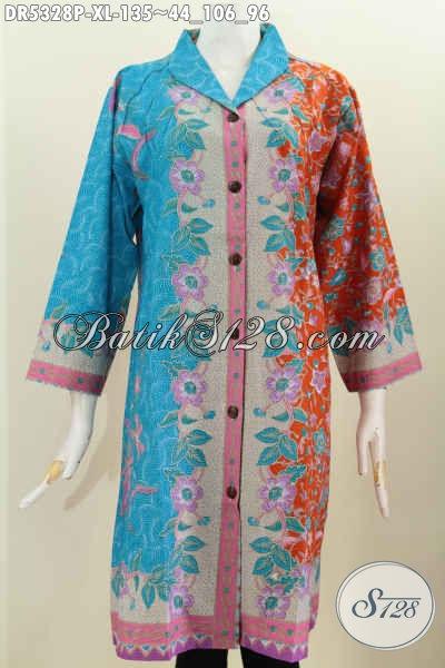 Produk Baju Batik Dengan Desain Keren Dan Inovatif Kerah Langsung, Berbahan Halus Motif Mewah Proses Printing Berpadu Kombinasi Warna Trend Masa Kini Untuk Penampilan Lebih Cetar Membahana [Dr5328P-XL]