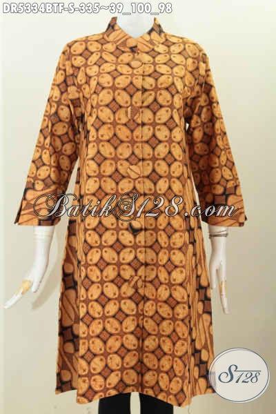 Dress Batik Motif Klasik Proses Kombinasi Tulis, Busana Batik Elegan Berkelas Kwalitas Bagus Dengan Daleman Furing Tricot Untuk Penampilan Lebih Berkelas [DR5334BTF-S]