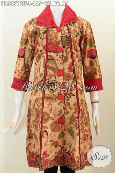 Baju Batik Istimewa, Pakaian Batik Halus Motif Keren Kombinasi Tulis Bahan Adem Daleman Full Tricot Harga 330 Ribuan Untuk Tampil Terlihat Berkelas [DR5339BTF-L]