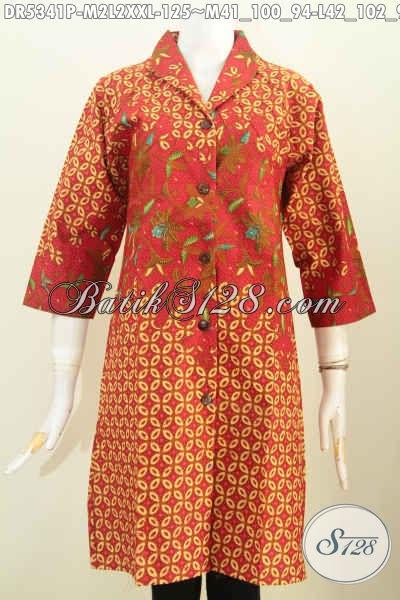Dress Batik Kerah Langsung Warna Merah Motif Mewah, Baju Batik Printing Berbahan Halus Dengan Harga Yang Terjangkau [DR5341P-L]
