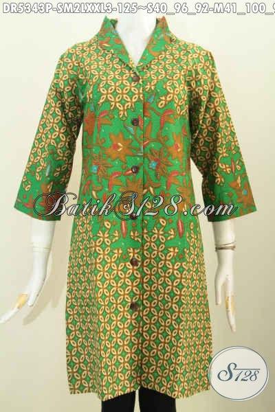 Batik Dress Istimewa, Hadir Dengan Warna Hijau Berpadu Motif Berkelas Nan Mewah Proses Printing Model Kerah Langsung, Cocok Untuk Seragam Kerja Tampil Mempesona [DR5343P-M , XXL]