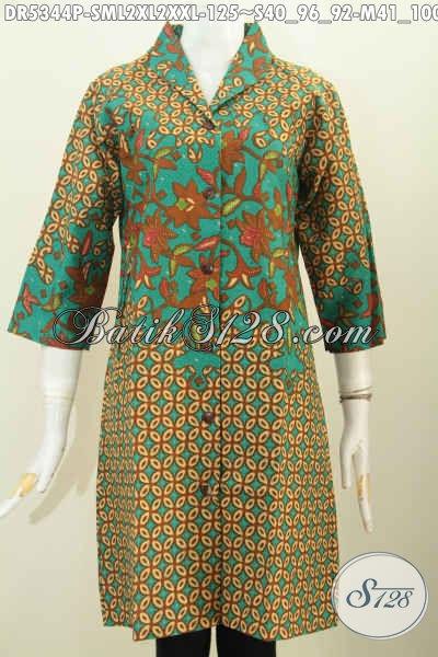 Dress Batik Jawa Elegan Motif Mewah Proses Printing, Pakaian Batik Kerah Langsung Modis Untuk Kerja Dan Elegan Buat Acara Formal, Size L – XXL