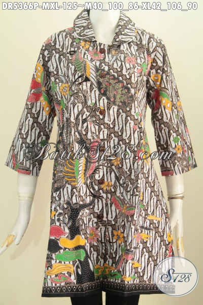 Dress Batik Kerah Bulat Untuk Wanita Dewasa, Baju Batik Elegan Motif Klasik Proses Printing Hanya 125K, Size XL