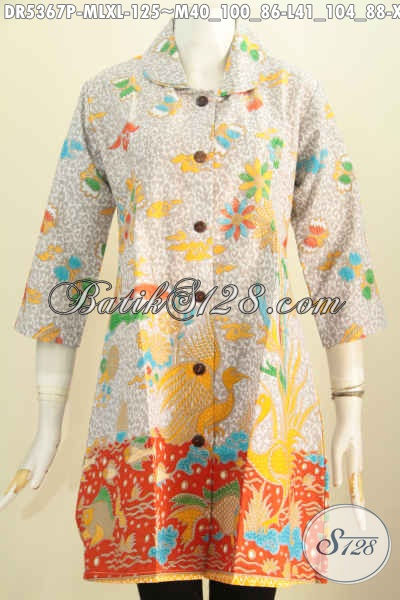 Baju Batik Modern Dengan Warna Kalem Dan Trendy, Dress Batik Printing Model Kerah Bulat Cocok Untuk Kerja Dan Santai [DR5367P-M , XL]