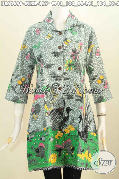 Jual Online Baju Dress Kerah Bulat Bahan Halus Motif Unik Proses Printing Untuk Penampilan Lebih Istimewa, Size L – XL