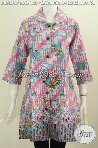 Dress Batik Elegan Kerah Bulat Harga 125K, Baju Batik Halus Proses Printing Untuk Kerja Dan Kondangan, Size XL