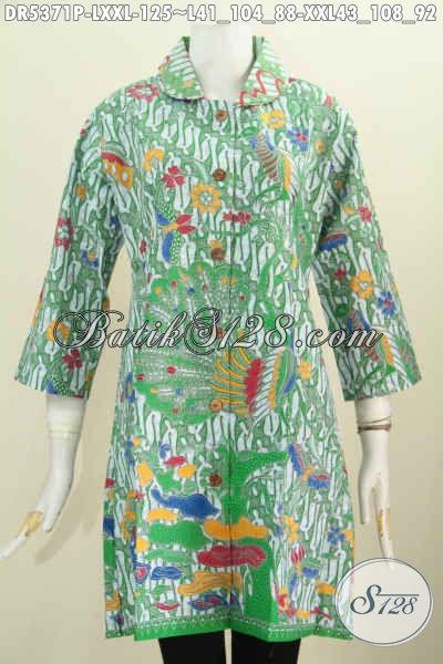 Dress Batik Printing Warna Hijau, Baju Batik Modis Kerah Bulat Kwalitas Bagus Hanya 125 Ribu, Size L – XXL
