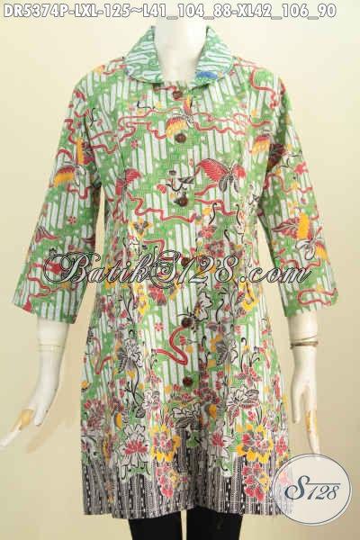 Produk Baju Batik Solo Istimewa Dengan Harga Murmer, Dress Batik Elegan Dan Modis Model Kerah Bulat Berbahan Halus Proses Printing Hanya 125K [DR5374P-XL]