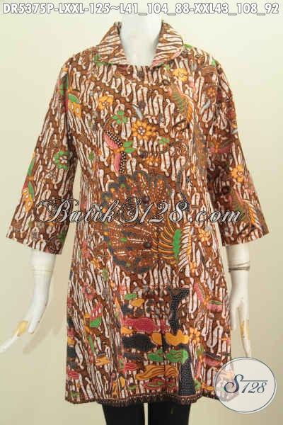 Dress Batik Kerah Bulat Ukuran Jumbo Baju Batik Halus