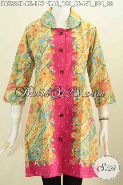 Jual Produk Pakaian Batik Halus Dan Modis, Baju Dress Batik Solo Kerah Bulat Motif Pagi Sore Untuk Kerja Tampil Gaya Dan Cantik Mempesona [DR5380P-M]