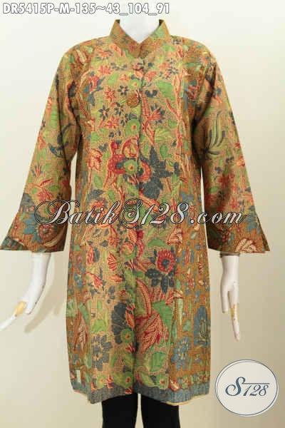Pakaian Dress Batik Kancing Besar Motif Elegan Proses Printing, Busana Batik Trendy Bahan Adem Pake Kancing Besar Lebih Keren Dan Gaya, Size M
