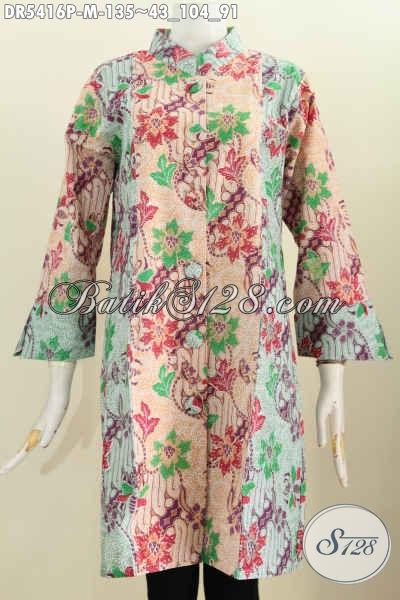 Jual Online Baju Batik Dress Motif Bunga, Pakaian Batik Istimewa Proses Printing Model Terbaru Pake Kancing Besar Lebih Modis Dan Gaya [DR5416P-M]