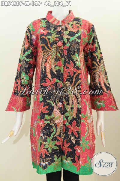 Dress Batik Keren Halus Motif Bagus Pakai Kancing Besar Proses Printing 100 Ribuan, Size M