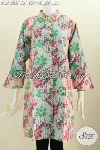 Juragan Baju Batik Online Khas Jawa Tengah, Sedia Dress Kancing Besar Size M, Berbahan Adem Motif Keren Proses Printing Hanya 135K Bisa Tampil Modis Dan Elegan [DR5422P-M]