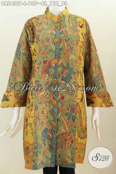 Pakaian Batik Modern Yang Bikin Wanita Tampil Modis, Dress Batik Halus Motif Keren Proses Printing Asli Buatan Solo, Size L