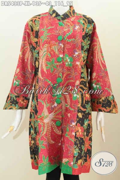 Baju Dress Elegan Berkelas Bahan Adem Proses Printing Kwalitas Istimewa Model Pake Kancing Besar Untuk Penampilan Lebih Istimewa, Size XL