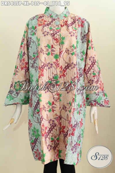 Produk Pakaian Batik Model Terusan, Baju Batik Halus Bahan Adem Desain Dress Kancing Besar Harga 135K, Size XL