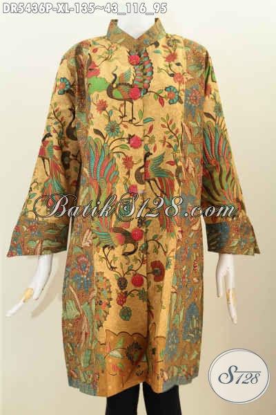 Baju Dress Batik Solo Untuk Wanita Dewasa Berbahan Halus Desain Istimewa Trend Mode Masa Kini Proses Printing Harga 135K, Size XL