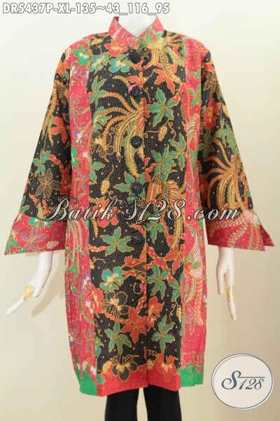 Toko Batik Online Sedia Dress Batik Istimewa Motif Mewah Proses Printing Model Kancing Besar Untuk Penampilan Lebih Istimewa, Size XL