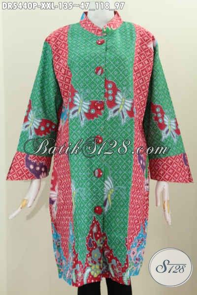 Produk Baju Batik Modern Warna Hijau Bahan Adem Motif Bagus Proses Printing Desain Trendy Pakain Kancing Besar Harga 135 Ribu, Size XXL