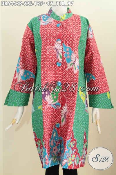 Baju Batik Fashion Buat Wanita Gemuk, Dress Batik Produk Dari Solo Dengan Kancing Besar Motif Trendy Proses Printing Yang Membuat Penampilan Lebih Anggun [DR5443P-XXL]