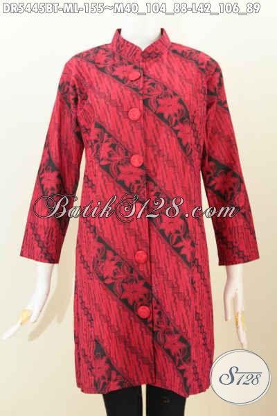 Jual Baju Batik Monokrom Merah Hitam Model Kerah Shanghai, Dress Batik Berkelas Untuk Wanita Tampil Lebih Sempurna, Size M – L