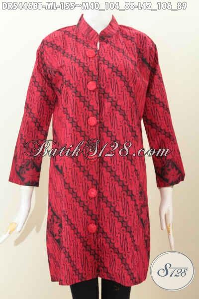 Jual Online Batik Dress Halus, Busana Batik Monokrom Kerah Shanghai Untuk Seragam Kerja, Size M