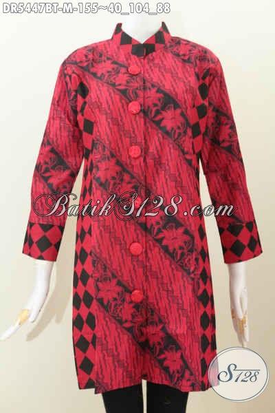 Dress Batik Halus Warna Merah Hitam, Baju Batik Monokrom Buatan Solo Model Kerah Shanghai Kancing Besar Pas Buat Kerja Dan Acara Resmi [DR5447BT-M]