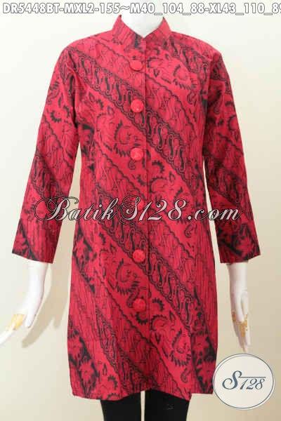 Jual Dress Bati Monokrom, Produk Baju Batik Kerja Warna Merah Hiatm Desain Kerah Shanghai Bahan Adem Proses Kombinasi Tulis Harga 155K [DR5448BT-XL]