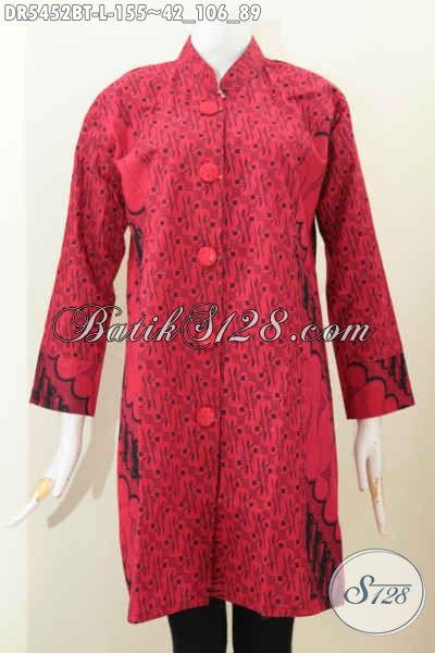 Pusat Pakaian Batik Online Khas Jawa Tengah, Jual Dress Monokrom Model Kerah Shanghai Size L Bahan Adem Untuk Santai Dan Formal