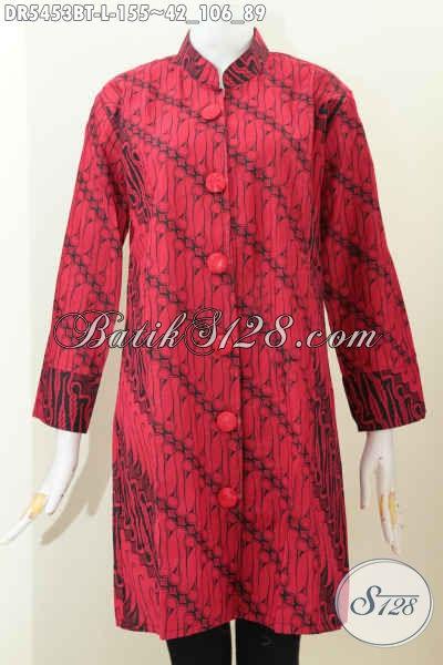 Batik Dress Halus Kwalitas Istimewa Bahan Adem Model Kerah Shanghai Untuk Kerja Dan Acara Formal Tampil Mempesona, Size L