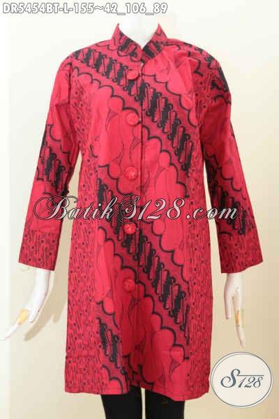 Jual Baju Batik Dress Modern, Busana Batik Kerah Shanghai Warna Monokrom Merah Hitam Kwalitas Halus Harga Terjangkau, Size L