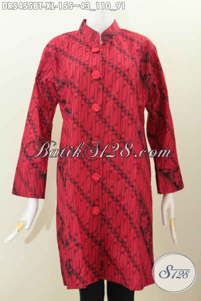 Baju Dress Batik Solo Monokrom Warna Merah Hitam Kombinasi Tulis, Pakaian Batik Elegan Desain Kerah Shanghai Kancing Besar Bahan Halus Harga Terjangkau [DR5455BT-XL]