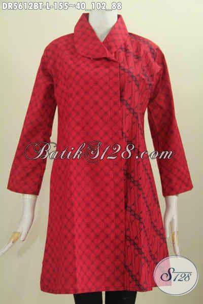 Baju Batik Monokrom Merah Hitam, Dress Batik Trend Terkini Model Kerah Miring Bahan Adem Proses Kombinasi Tulis Tampil Modis Dan Mewah [DR5612BT-L]
