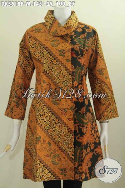 Dress Batik Klasik Motif Mewah Model Kerah Miring Proses Printing, Baju Batik Wanita Terbaru Tampil Mewah Dengan Harga Terjangkau [DR5618P-M]