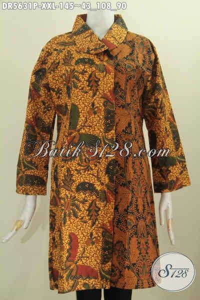 Baju Batik Dress Spesial Untuk Wanita Gemuk, Produk Pakaian Batik istimewa Proses Printing Model Terbaru Kerah Miring Bikin Penampilan Terlihat Anggun [DR5631P-XXL]