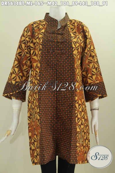 Baju batik Model Baru, Pakaian Batik Klasik Kerah Shanghai Kancing Zig-Zag Proses Kombiansi Tulis, Elegan Buat Kondangan [DR5634BT-L]