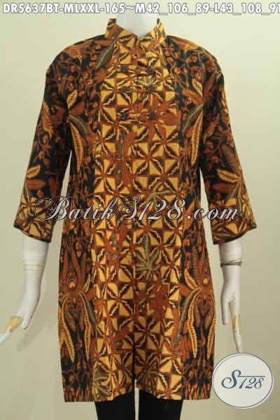 Drss Batik Elegan Dan Berkelas, Baju Batik Kancing Zig-Zag Model Kerah Shanghai Bahan Adem Proses Kombinasi Tulis [DR5637BT-L]
