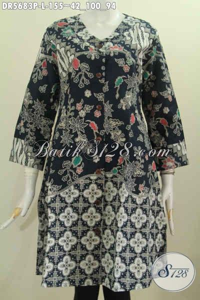 Jual Online Baju Batik Dress Model Krah V, Baju Batik Terusan Kwalitas Istimewa Untuk Kerja Dan Santai Motif Bagus Proses Printing Harga 155K [DR5683P-L]