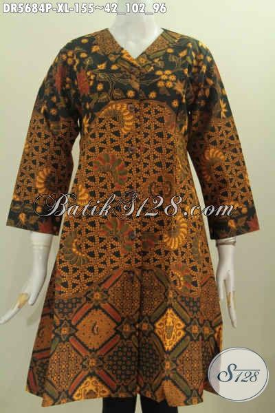 Baju Batik Wanita Dewasa, Dress Krah V Size XL, Berbahan Halus Motif Mewah Proses Printing Untuk Tampil Stylish [DR5684P-XL]