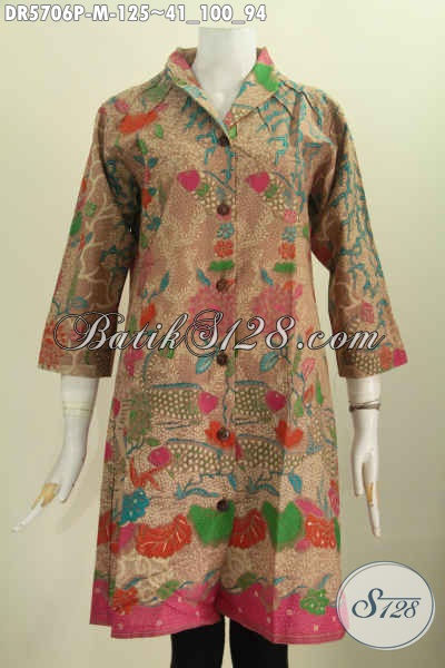 Batik Dress Elegan, Pakaian Batik Wanita Model Terusan Kerah Langsung Buatan Solo Proses Printing Hanya 125K [DR5706P-M]
