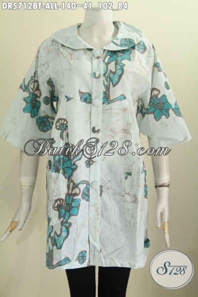 Baju Batik Kerah Bulat Motif Keren, Pakaian Batik Santai Wanita Proses Kombinasi Tulis, Tampil Makin Cantik Dan Stylish