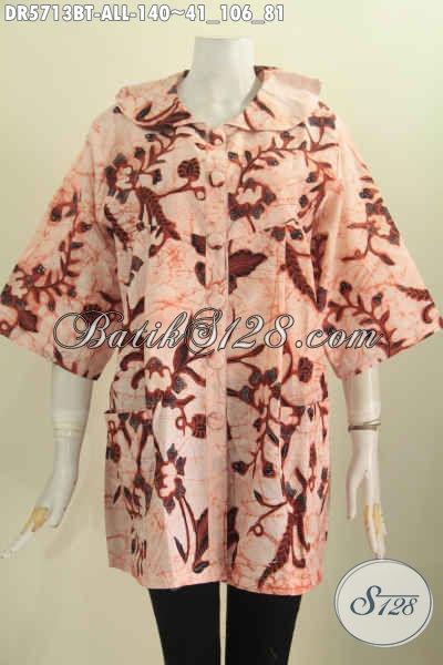 Sedia Busana Batik Santai Nan Modis, Baju Dress Batik Solo Halus Motif Bagus Kombinasi Tulis Cocok Juga Untuk Ke Kantor [DR5713BT-All Size]