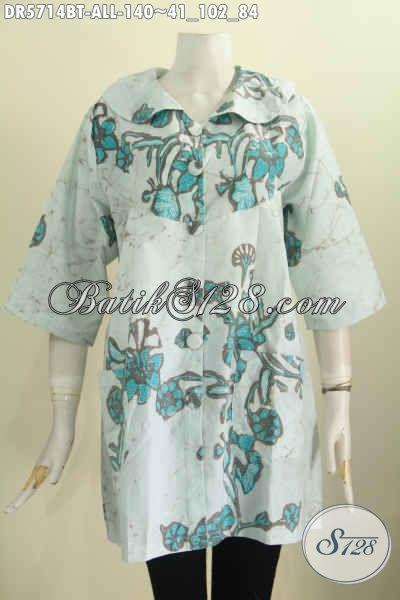 Baju Dress Batik Kerah Bulat, Busana Batik Trenyd Untuk Tampil Modis