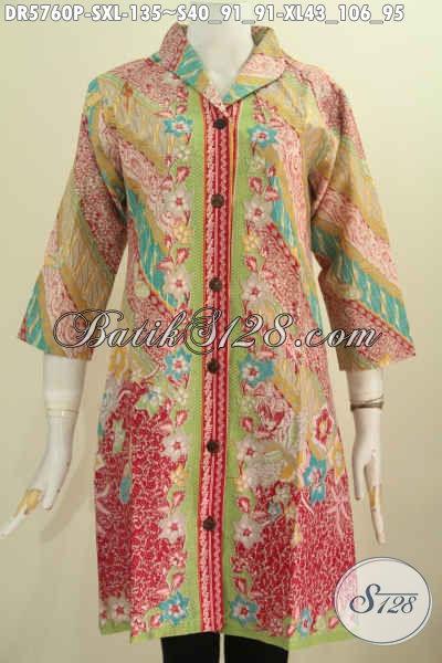 Baju Dress Elegan Desain Mewah Berpadu Kerah Langsung, Pakaian Batik Solo Motif Pagi Sore Proses Printing Harga 135 Ribu [DR5760P-S]